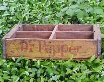 Wooden Soda Crate Dr. Pepper 4 Dividers 723 Very Rare Vintage