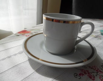 Mini White Teacup and Saucer with Gold Rim