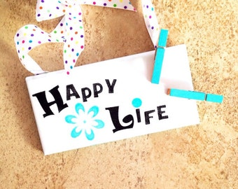 Small hanging photo holder, office memo clip, rustic picture hook, hanging stenciled tile sign, inspirational photo clip, handmade frame