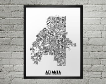 Atlanta Georgia Neighborhood Typography City Map Print