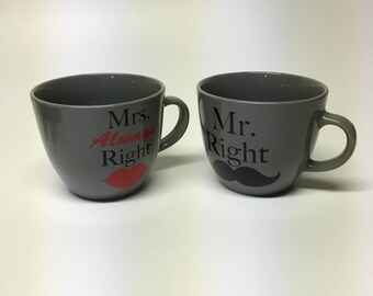 MR & MRS coffee mugs- Wedding Mug Set- Coffee Mug Set