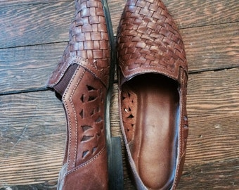 Women's Brown Leather Loafer Shoe