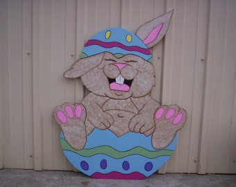 Easter Bunny Laughing In Broken Egg Yard Art Lawn Decoration