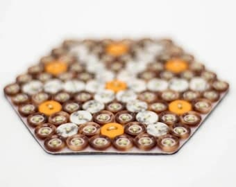 Hand Stitched Button Coasters. Set of 4