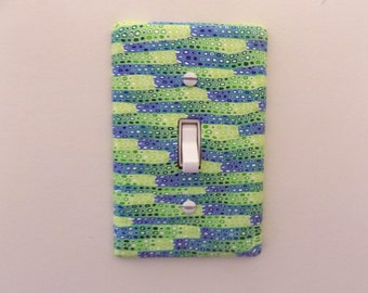 Shades of Blue and Green Lightswitch Plate Cover Polymer Clay