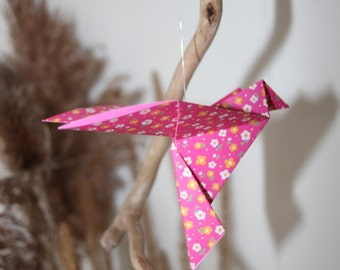 Mobile origami bird floated wood