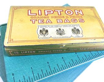 Lipton Tea Tin - Lipton Tin - Lipton Tea Bag Tin Box - Vintage Advertising Tin - Collectible Tin - Lipton Advertising - Rustic Decor