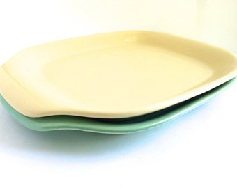 Bauer Pottery Trays - Bauer Pottery La Linda Trays - Bauer Pottery Platter - Bauer Pottery Plate - Green Tray - Yellow Tray - Green Platter