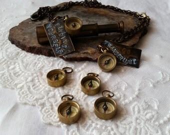 Miniature Brass Compass -  15mm Compass, Tiny Working Compass  Pendant, COMPASS Charm, Steampunk, Nautical