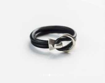 Black&Silver leather bracelet