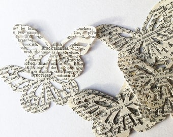 50 vintage dictionary paper butterflies, paper craft, card making, die cut from vintage 1930's Dictionary