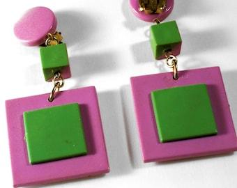 Vintage Purple/Green Plastic Dangly Clip Earrings Signed West Germany S574 Mod Retro Dangle Drop