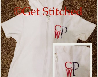 Embroidered Stacked Monogrammed Baby/Toddler Swimsuit Cover