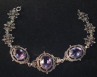 Art Nouveau Genuine Amethyst Silver Bracelet