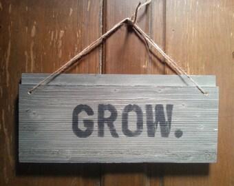 Shabby Garden Sign 'Grow' | Shabby Chic Decor | Wall Art | Barn Wood Sign