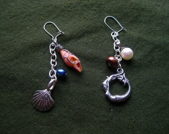 Mismatched mermaid pearl seashell earrings