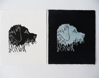 Dog Lino print, Black and White Art, Animal Print, Linocut Dog, Small Print Art, Black Wall Decor, Original Lino Print, White Linocut Print