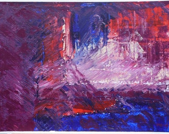 Small dynamic abstract acrylic painting. Expressive art.