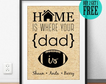 Father's Day Gift, Dad Gift, Grandpa Gift, Father Print, Home Is Where Your dad is, Personalized Gift, Housewarming Gift, Home Decor, CM05