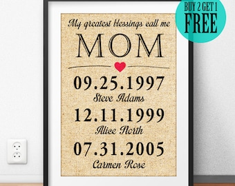 Personalized, Mother Gifts, Mother's Day, My Greatest Blessings Call Me MOM, Mother Print, Burlap Print, Home Decor, Wall Art, Sign, CM46