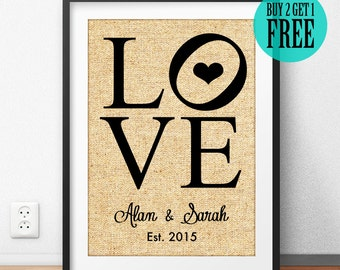 Burlap Sign, Love Prints, Personalized Anniversary Gift, Wedding Anniversary, 1st Anniversary, Cotton Anniversary, Housewarming Gift, CM74