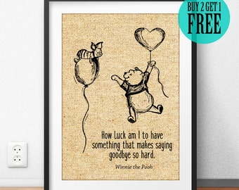 Winnie the Pooh Quote, Burlap Print, Disney Wall Art, Kids Room Decor, Baby Home Decor, Nursery Decor, Best Friend Gift, Birthday Gift, SD71