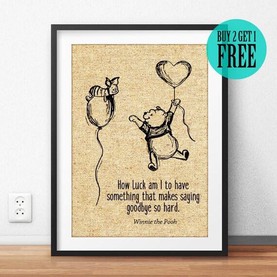 Winnie the Pooh Quote Burlap Print Disney Wall Art Kids