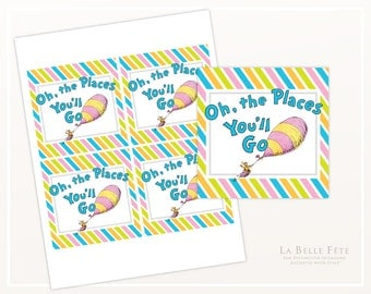 Oh the Places You'll Go GIFT / FAVOR TAGS / Centerpiece picks, goody bag tags, diy printable