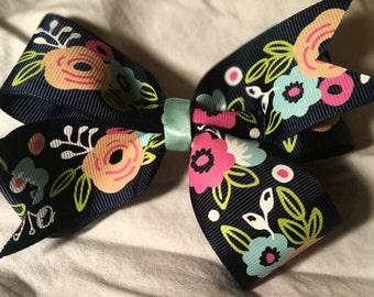 "Floral Navy Blue 5"" Hair Bow"