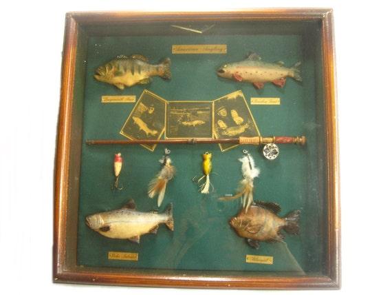 Vintage fly fishing shadow box fisherman gift man cave fish for Shadow fly fishing