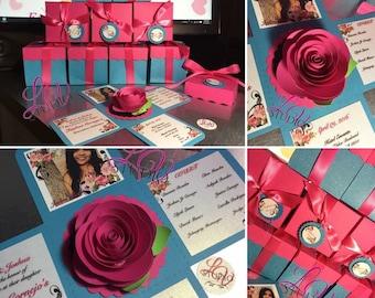 Rose center Exploding box invitation