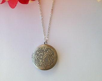 Antique Flower  Locket Necklace.