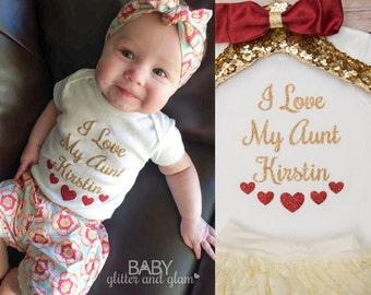 I Love My Aunt, Aunt Baby Girl Shirt, Baby Shower Gift, Auntie Baby Newborn Gift