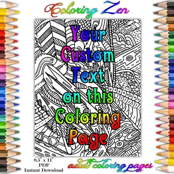 Personalized custom any text adult coloring book page by email Personalized coloring books for adults