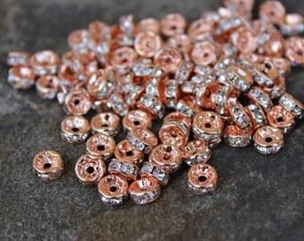 6mm x 3mm Rhinestone Spacers, Rhinestone Spacers, Unique Rhinestone Spacer Beads, Rhinestone Beads, Rhinestone Spacers, Sparkly Spacer Beads