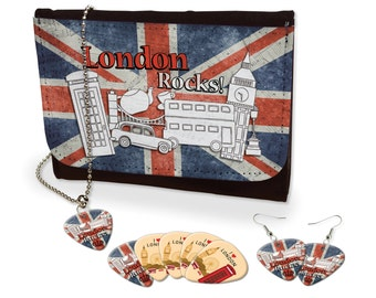 London Rocks Earrings, Necklace & Leather Purse Set British Quirky (M)