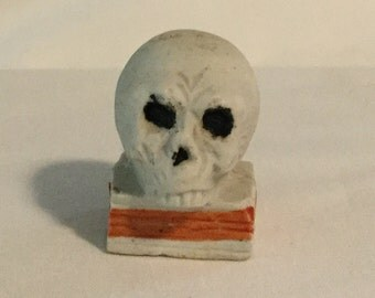 Antique Bisque Skull on Book Figurine Made in Japan