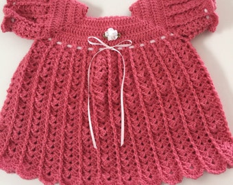 Baby Girl Pink Crocheted Dress