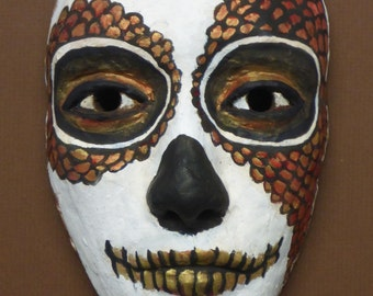 original ceramic mask - dias de los muertos 054 - inspired by the day of the dead and created by portrait artist Anita Dewitt