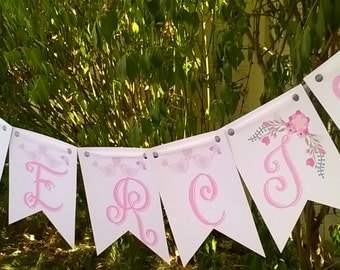 Thanks for wedding Garland, flower and tulle Ribbon