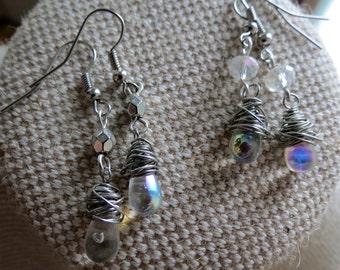 Teardrop Earrings, Glass Bead Earrings, Dangle Earrings, Wire Wrapped Earrings, Silver Earrings, Bead Earrings