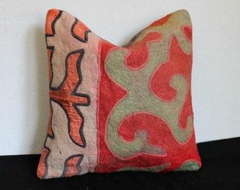 16x16 Felt Pillow Cover, Turkish Felt Pillow, Anatolian Felt Pillow