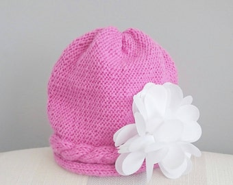 Hand Knitted Pink Baby Girl Flower Hat - Age 0 - 3 Months