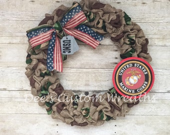 marines , marines wreath, usmc wreath, USMC, military , semper fi ,burlap wreath