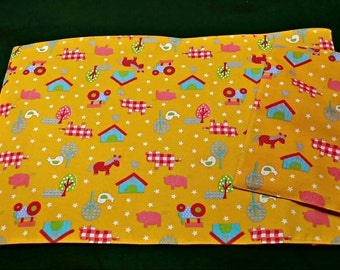 Cloth placemat and Napkin set Farm Life print 100% Cotton handmade child toddler blue or pink reverse reinforced corners