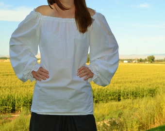 Womens size M Medium LONG SLEEVE Renaissance Faire shirt theater peasant blouse poet pirate