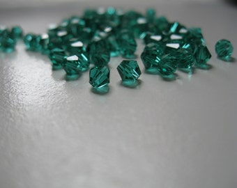 4mm Green Glass Bicone Beads (50pc)