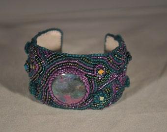 Purple, Metallic Blue, Matte Blue Beaded Bracelet/Cuff