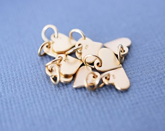 Tiny Gold Heart Charm, Gold Vermeil Heart, 24k, Satin 24K Gold Plated Sterling Silver Tiny Heart Charm, Flat, Love, Jewelry Supplies, GV418