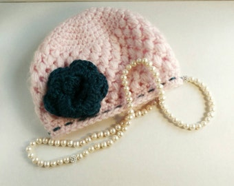Beanie Infant Hat - Flower Accent